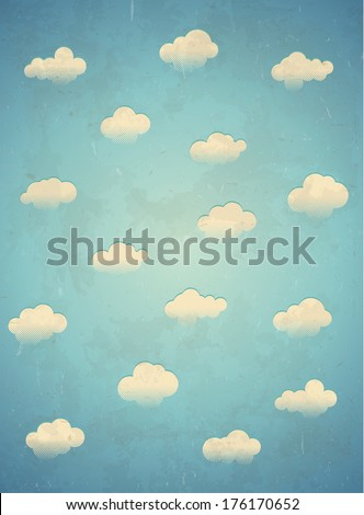 Vertical vintage aged card with clouds in the sky - stock vector