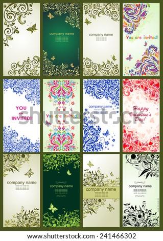 Vertical vintage floral banners - stock vector