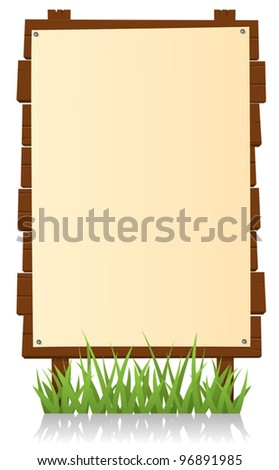 Vertical Wood Billboard/ Illustration of a cartoon vertical wood billboard with blank sign for your  advertisement - stock vector