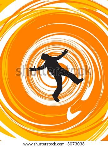 Vertigo, or a man falling - stock vector