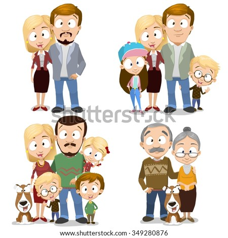 Very adorable big family characters collection set isolated on white background. Including grandparents and even dog - stock vector