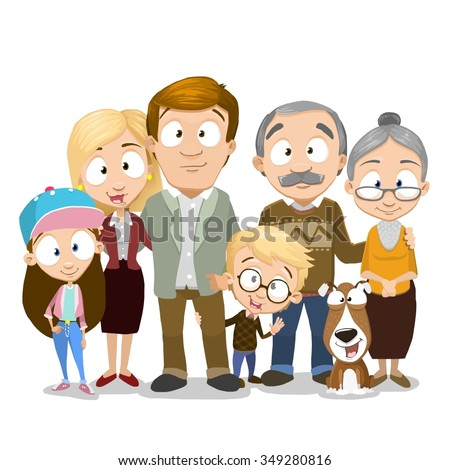 Very adorable big family portrait isolated on white background, Including grandparents and even dog - stock vector