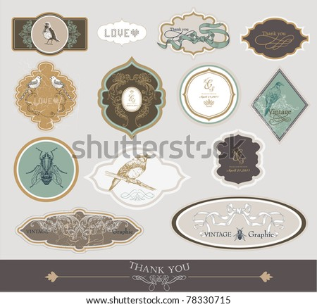 very cool and lovely vintage tags and stickers set - stock vector