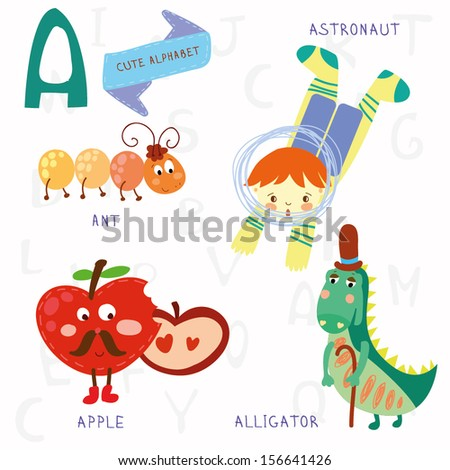 Very cute alphabet. A letter. Ant, astronaut, apple, alligator. Alphabet design in a colorful style. - stock vector