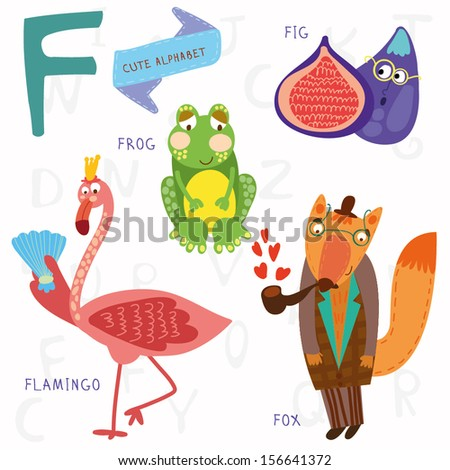 Very cute alphabet. A letter. Flamingos, figs, fox, frog. Alphabet design in a colorful style. - stock vector