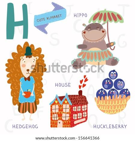 Very cute alphabet. A letter. Hedgehog, house, hippopotamus,huckleberry. Alphabet design in a colorful style. - stock vector