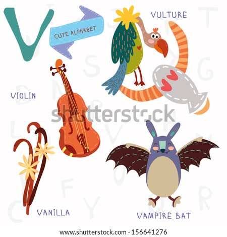Very cute alphabet. A letter. Vulture,vampire bat,violin,vanilla. Alphabet design in a colorful style. - stock vector