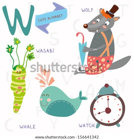 Very cute alphabet. A letter. Wolf, wasabi, whale,watch. Alphabet design in a colorful style. - stock vector