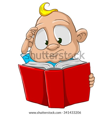 Very cute and adorable white skin baby boy cartoon character isolated on the white background. Reading a red book, scratching a head - stock vector