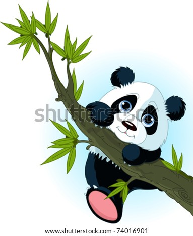 Very cute Giant panda climbing tree - stock vector