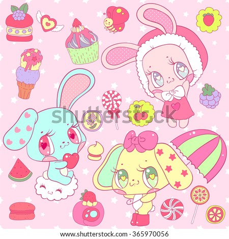 Very cute set with bunnies and various sweets. Perfect for Valentine's Day, website design, wrapping paper, greeting cards, children's books and children's clothing. - stock vector