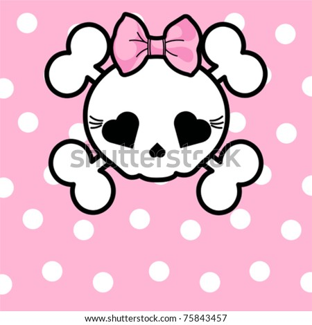 Very cute Skull with bow on dotted  background with place for copy/text - stock vector