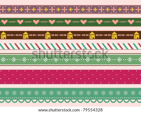 Very Cute Straight Lace and Ribbon - stock vector