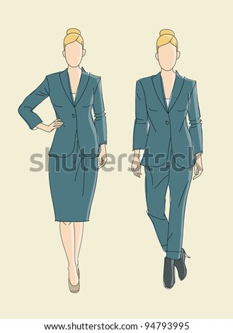 Very cute vector hand drawn Fashion illustration business women - stock vector