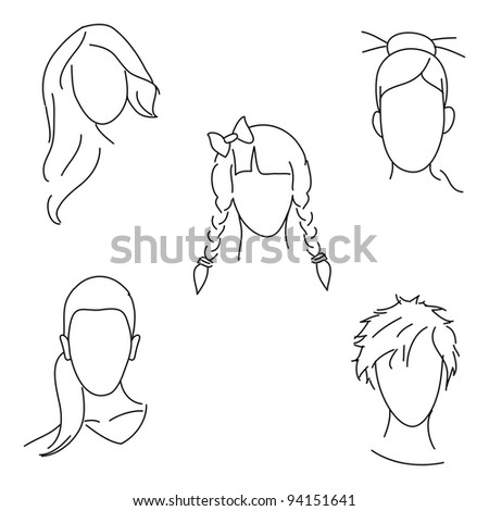 Very cute vector hand drawn illustration of different hairstyles