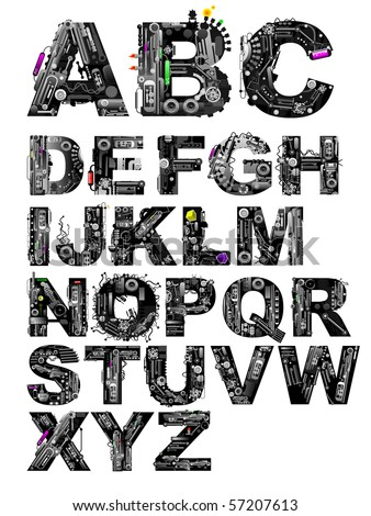 very detailed alphabet - stock vector