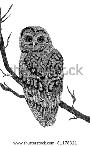 very detailed hand-drawn psychedelic owl, branch and owl on separate layers. - stock vector