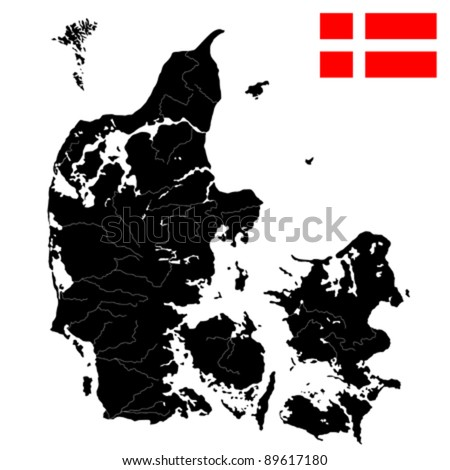 Very detailed  map of Denmark with islands, rivers and lakes. Isolated objects over white background. - stock vector