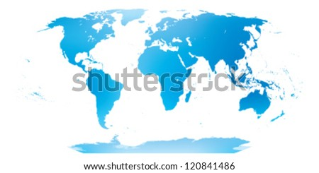 Very detailed map of the world in blue and green. - stock vector