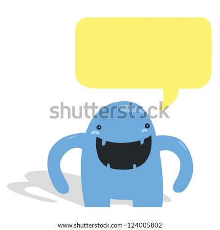 Very Happy Blue Monster with Yellow Speech Bubble - stock vector