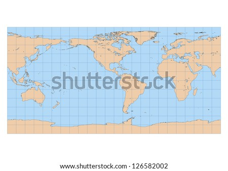 Very high detailed map of the world in Equirectangular projection with graticule. Centered in the American continent - stock vector