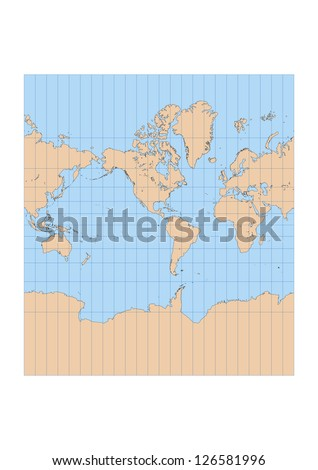 Very high detailed map of the world in Mercator projection with graticule. Centered in the American continent - stock vector