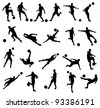 Very high quality detailed soccer football player silhouette cutout outlines. - stock photo