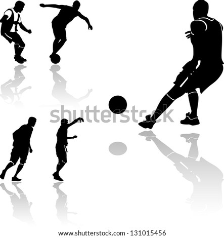 Very high quality detailed soccer football player silhouette cutout outlines. - stock vector