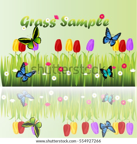 Very high quality original trendy illustration of grass with flowers, chamomile, tulip and butterfly
