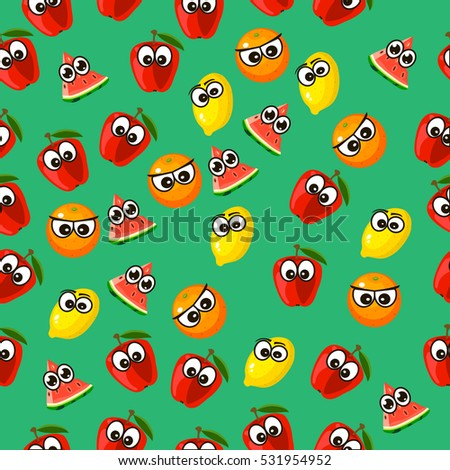 Very high quality original trendy vector seamless pattern with a watermelon character, personage or face