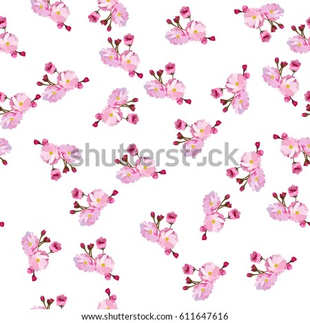 Watercolor Spring Seamless Pattern Hand Painted Stock