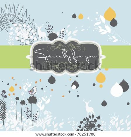 very nice garden style invitation card- light blue - stock vector