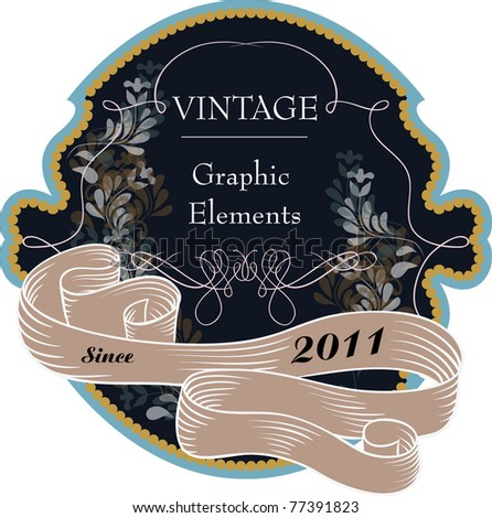 very nice label in dark color- best for wine bottle packaging design - stock vector
