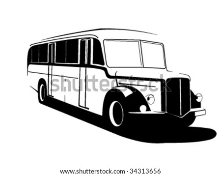 Very old vector bus - stock vector