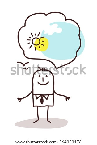very optimistic cartoon man - stock vector
