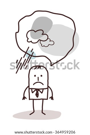 very pessimistic cartoon man - stock vector