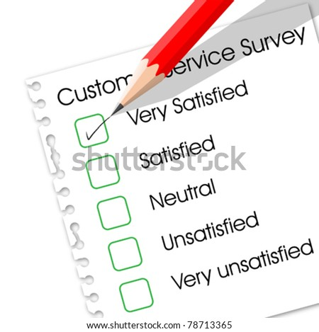 Very satisfied check box in customer service survey form - stock vector
