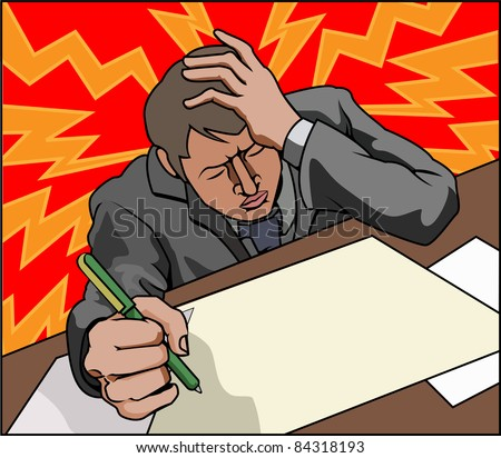 Very stressed looking business man perhaps with headache. - stock vector