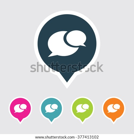 Very Useful Editable Comments or Speech Bubble Icon on Different Colored Pointer Shape. Eps-10. - stock vector
