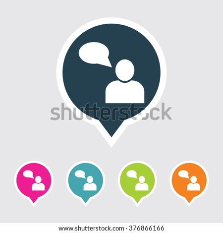 Very Useful Editable User Icon on Different Colored Pointer Shape. Eps-10. - stock vector