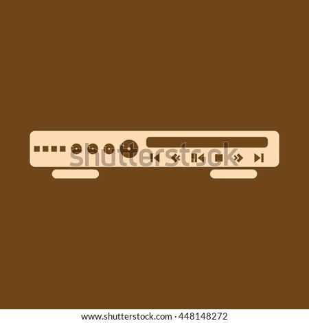 Very Useful Editable Vector icon of CD or DVD Player on coffee color background. eps-10. - stock vector