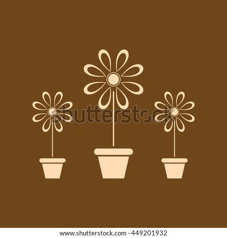 Very Useful Editable Vector icon of flower vase on coffee color background. eps-10.