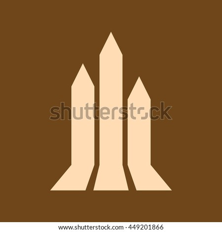 Very Useful Editable Vector icon of growing graph, growth arrow  on coffee color background. eps-10.
