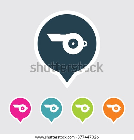 Very Useful Editable Whistle Icon on Different Colored Pointer Shape. Eps-10. - stock vector