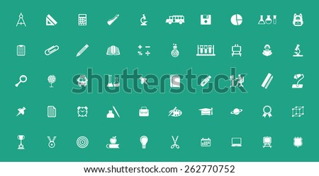 Very Useful educational Icon Set On Flat UI Color Background. Eps-10.