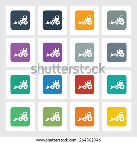 Very Useful Flat Icon of Bulldozer with Different UI Colors. Eps-10. - stock vector