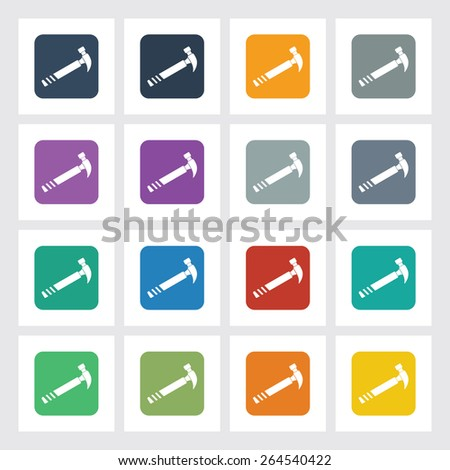 Very Useful Flat Icon of Hammer with Different UI Colors. Eps-10. - stock vector