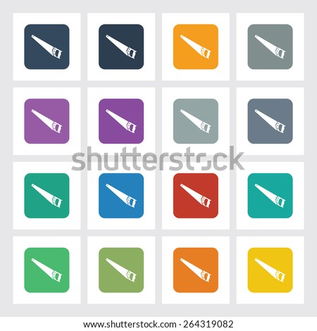 Very Useful Flat Icon of Hand Saw with Different UI Colors. Eps-10. - stock vector