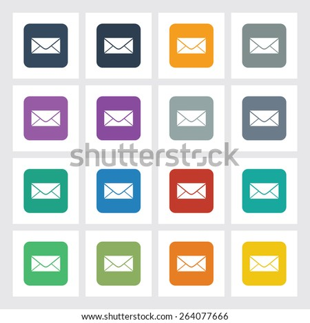 Very Useful Flat Icon of Mail with Different UI Colors. Eps-10. - stock vector