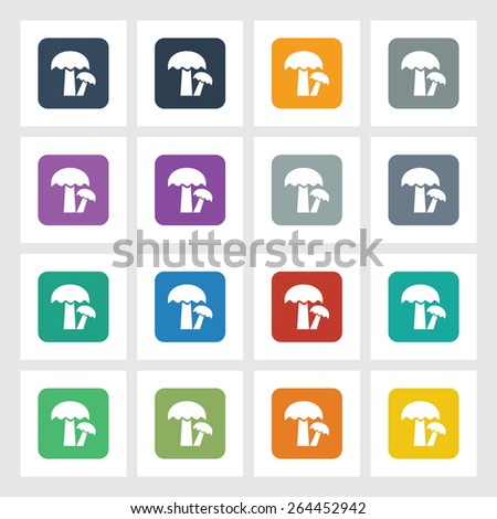 Very Useful Flat Icon of Mushroom with Different UI Colors. Eps-10. - stock vector